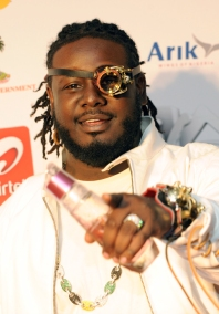 US guest artist and contemporary rap icon T-Pain performs on December 11, 2010 at the MTV Africa Music Awards ceremony in Lagos. The awards ceremony featured American rapper Rick Ross, as well as a host of top African artists including Fally Ipupa from the Democratic Republic of Congo, South Africa's Teargas and Kenya's P-Unit. AFP PHOTO / PIUS UTOMI EKPEI (Photo credit should read PIUS UTOMI EKPEI/AFP/Getty Images)