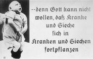 Propaganda slide featuring a deformed infant